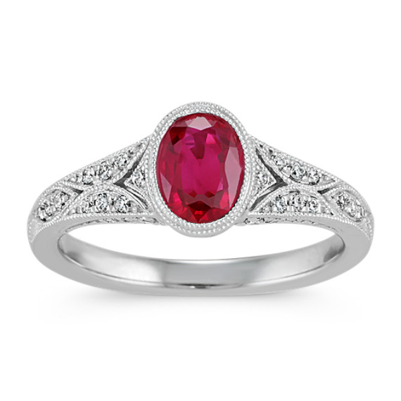Vintage Oval Ruby and Diamond Ring in 14k White Gold