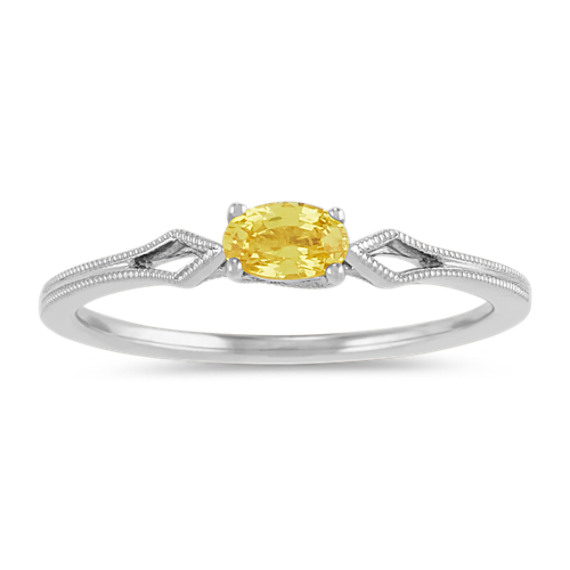 Vintage Oval Yellow Sapphire Ring in 14k White Gold