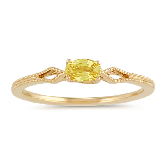 Vintage Oval Yellow Sapphire Ring in 14k Yellow Gold