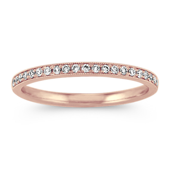 Vintage Pave-Set Diamond Band in 14k Rose Gold