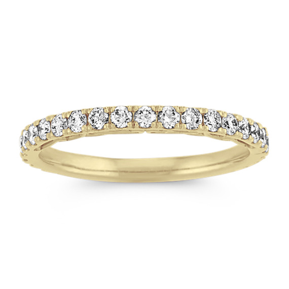 Vintage Pave-Set Diamond Wedding Band in 14k Yellow Gold