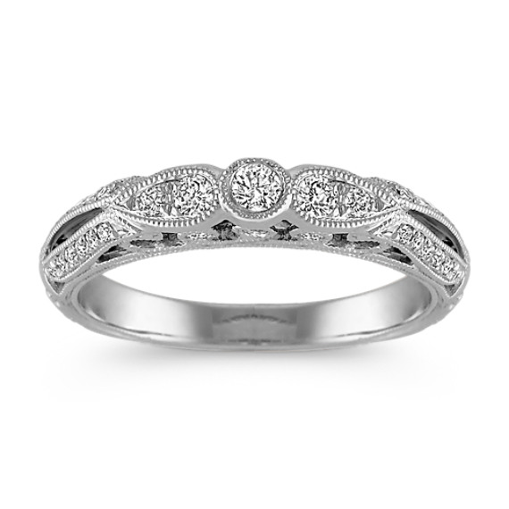 Vintage Pave-Set Diamond Wedding Band with Center Round Diamond