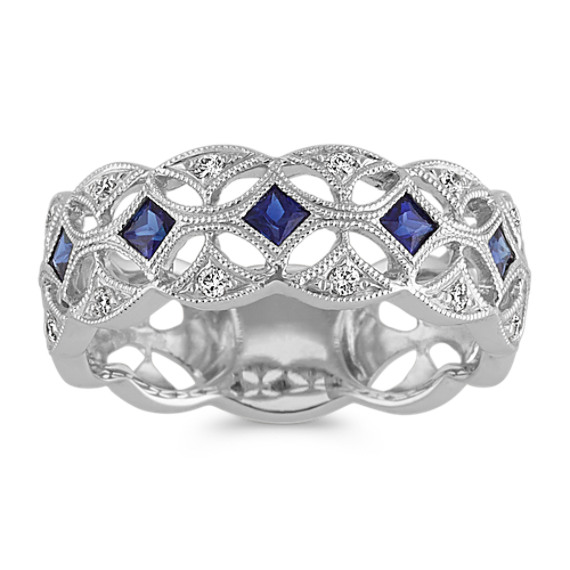 Vintage Princess Cut Sapphire and Diamond Ring