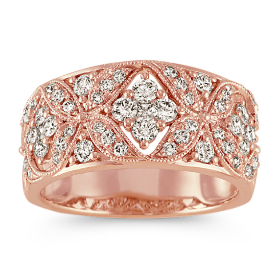 Vintage Princess Cut and Round Diamond Ring in 14k Rose Gold