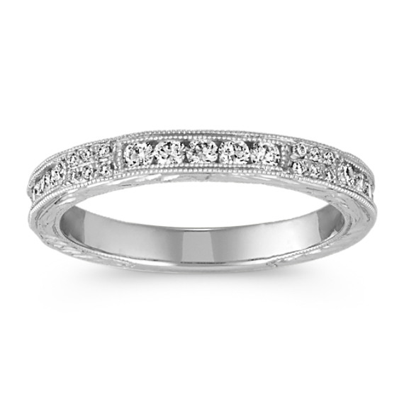 Vintage Round Diamond Channel and Pave-Set Band