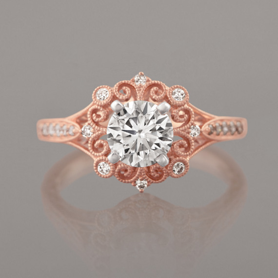 Vintage Round Diamond Engagement Ring In 14k Rose Gold Shane Co
