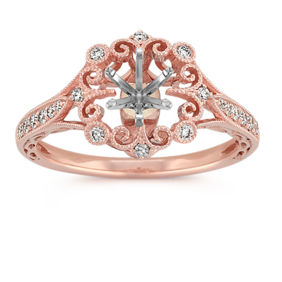 Vintage Round Diamond Engagement Ring in 14k Rose Gold