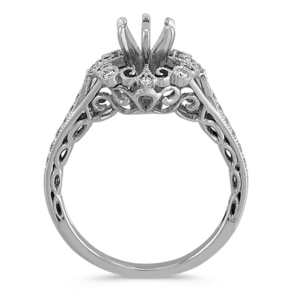 Vintage Round Diamond Engagement Ring in 14k White Gold image