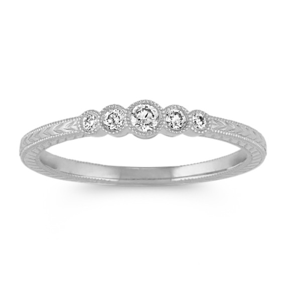 Vintage Round Diamond Ring in 14k White Gold