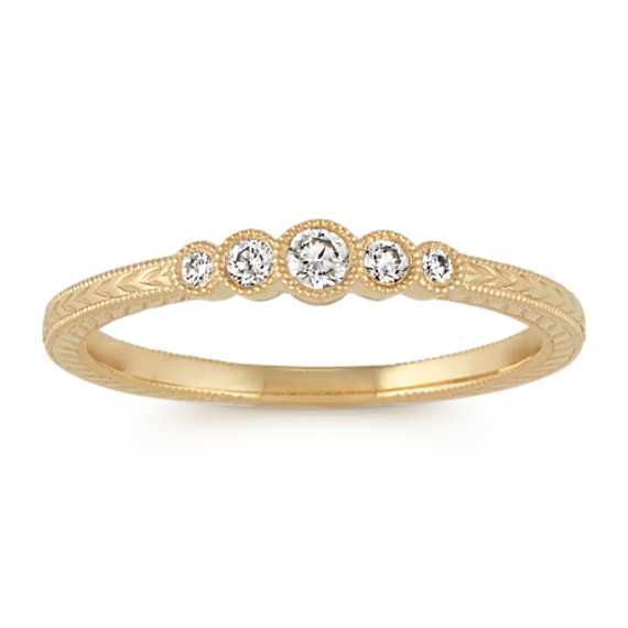 Vintage Round Diamond Ring in 14k Yellow Gold