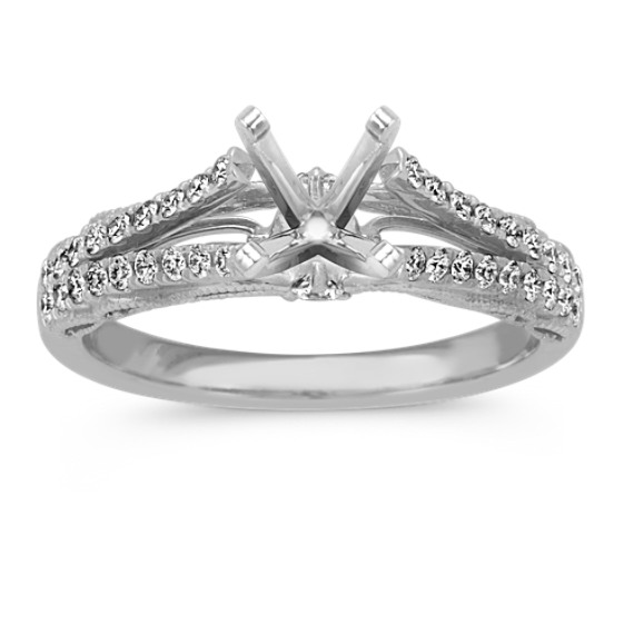 Vintage Round Diamond Split Shank Engagement Ring in Platinum