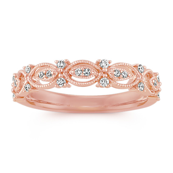 Vintage Round Diamond Wedding Band in 14k Rose Gold