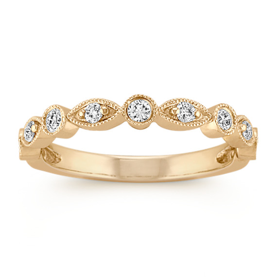 Vintage Round Diamond Wedding Band in 14k Yellow Gold