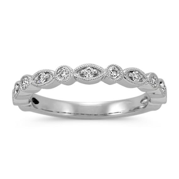 Vintage Round Diamond Wedding Band in Platinum