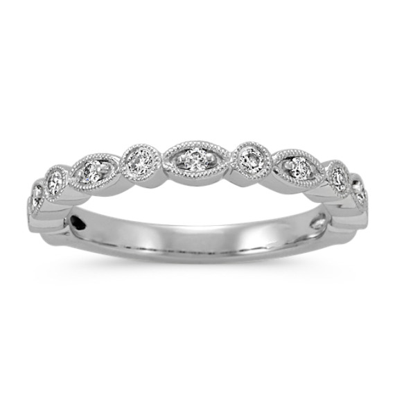 Vintage Round Diamond Wedding Band in Platinum