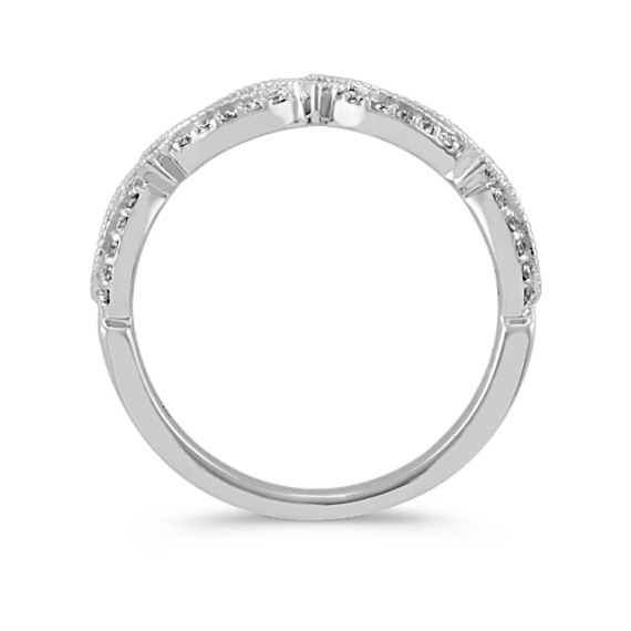 Vintage Round Diamond Wedding Band with Milgrain Detail image