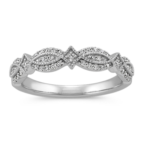 Vintage Round Diamond Wedding Band with Milgrain Detail