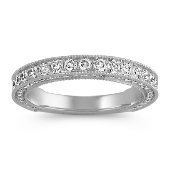Vintage Round Diamond Wedding Band with Pave Setting in Platinum