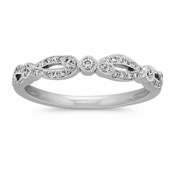 Vintage Round Diamond Wedding Band with Pave-Setting