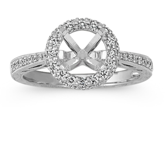 Vintage Round Halo Platinum Engagement Ring with Pave-Set Diamonds