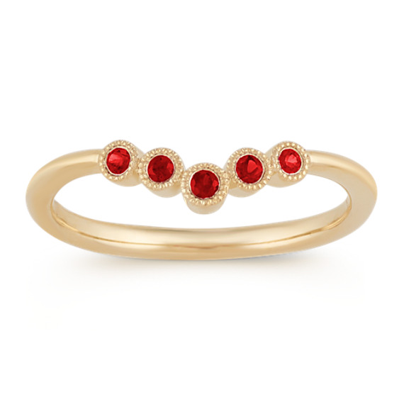 Vintage Ruby Stackable Ring in 14k Yellow Gold