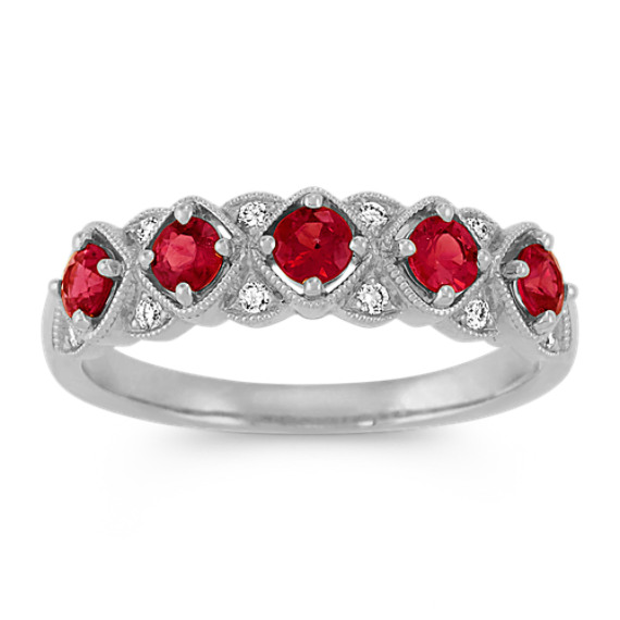 Vintage Ruby and Diamond Fashion Ring in White Gold