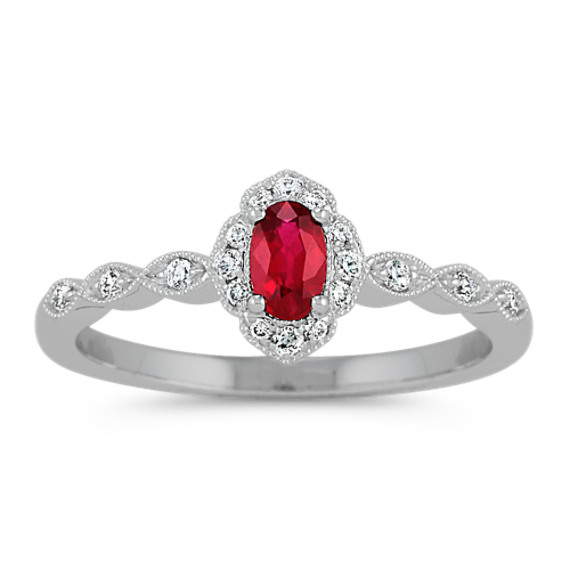 Vintage Ruby and Diamond Ring in 14k White Gold