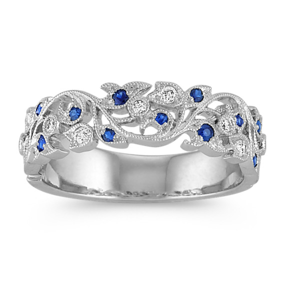Vintage Sapphire and Diamond Wedding Band with Pave Setting