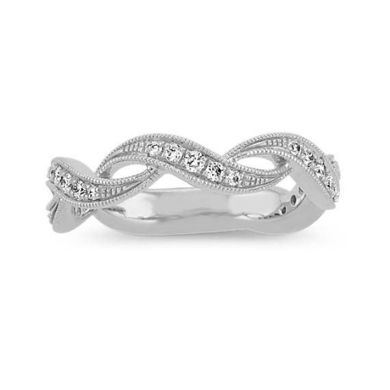 Vintage Swirl Diamond Wedding Band in 14k White Gold