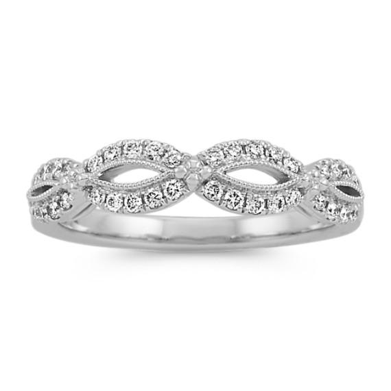 Vintage Swirl Diamond Wedding Band in Platinum