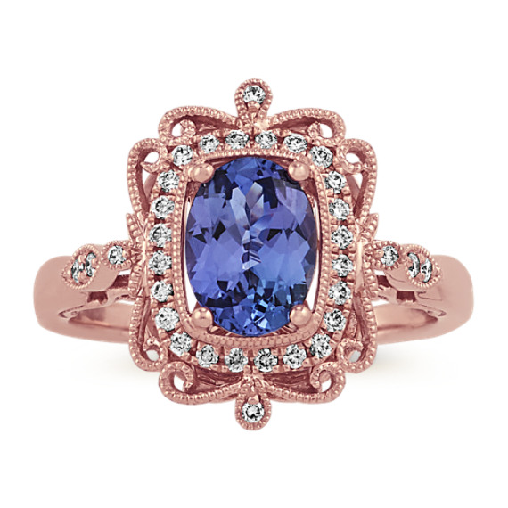 Vintage Tanzanite and Diamond Ring in 14k Rose Gold