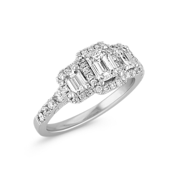 Gentle Wedding Engagement Emerald Rose Cut Victorian Style Diamond Sterling Silver Ring Fine Rings