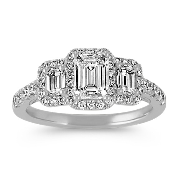 Vintage Three-Stone Emerald Cut Diamond Ring with Pave-Setting