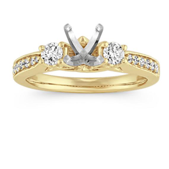 Vintage Three-Stone Pave-Set Diamond Engagement Ring