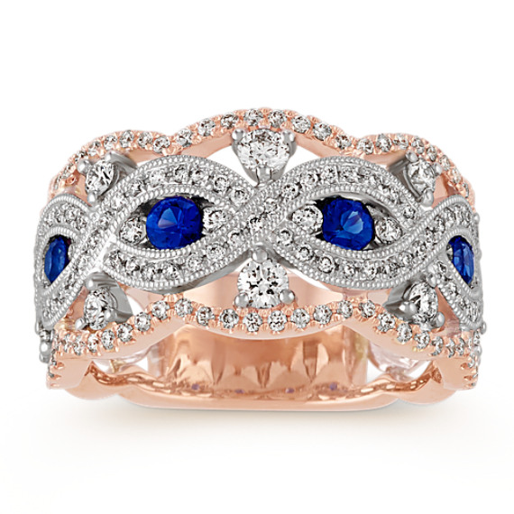 Vintage Traditional Blue Sapphire and Diamond Ring