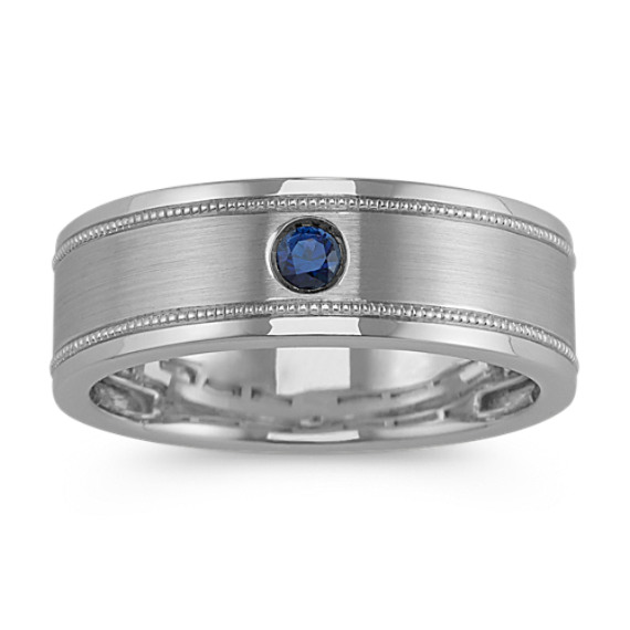 Vintage Traditional Sapphire Mens Band (7.5mm)