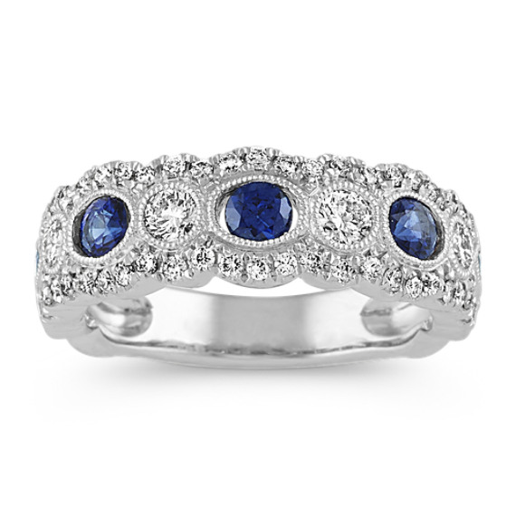 Vintage Traditional Sapphire and Diamond Ring