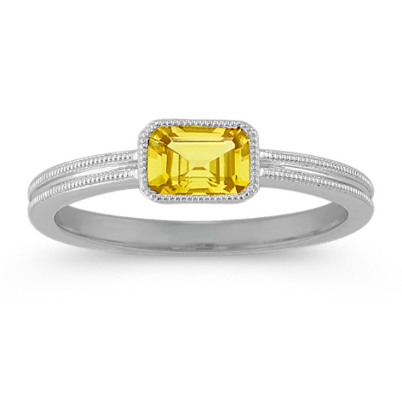 Vintage Yellow Sapphire Ring in Sterling Silver
