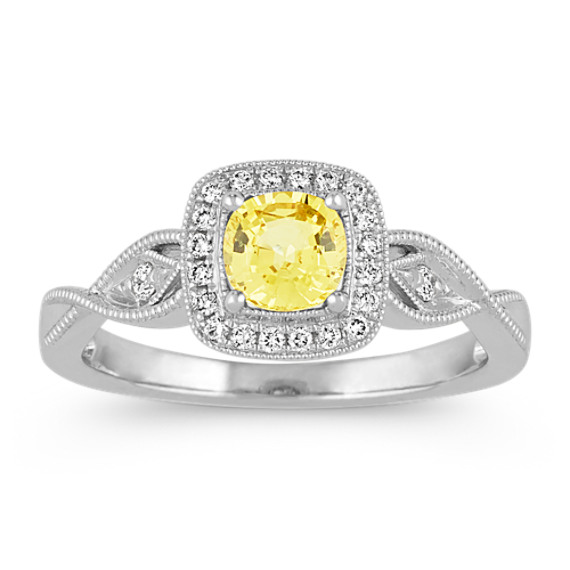 aa10814cee8f02 Vintage Yellow Sapphire and Diamond Ring | Shane Co.