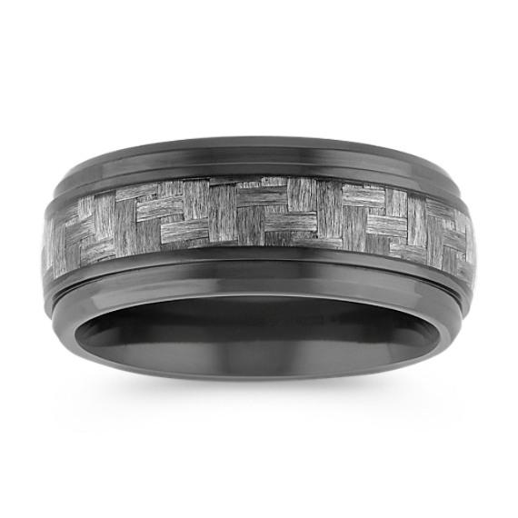 Weave Pattern Black Titanium Comfort Fit Ring (9mm)