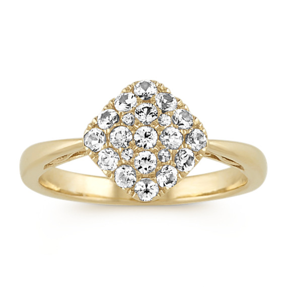 White Sapphire Cluster Ring in 14k Yellow Gold