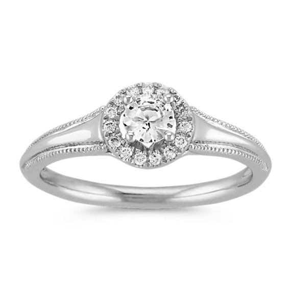 White Sapphire and Diamond Halo Fashion Ring in Sterling Silver