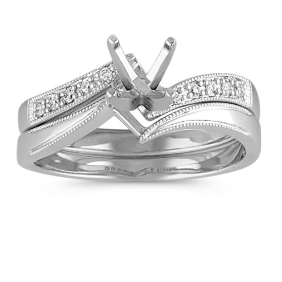 Zigzag Swirl Diamond Wedding Set with Pave Setting
