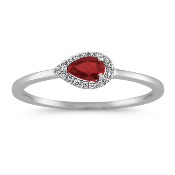 Pear-Shaped Ruby and Round Diamond Ring