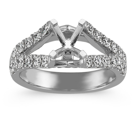 Split Shank Cathedral Diamond Engagement Ring