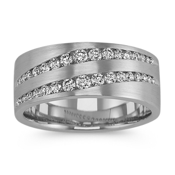 Double Row Diamond Mens Ring (8.5mm)