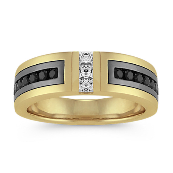 Black Sapphire and Diamond Men's Band in 14k Yellow Gold (7mm)