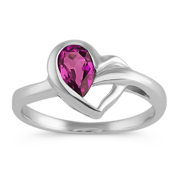 Heart Ring with Pear-Shape Rhodilite Garnet