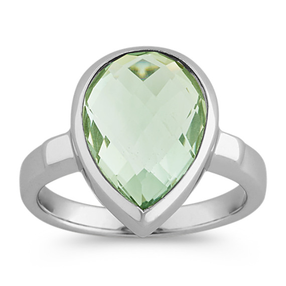 Checkerboard Cut Pear-Shaped Green Quartz Ring