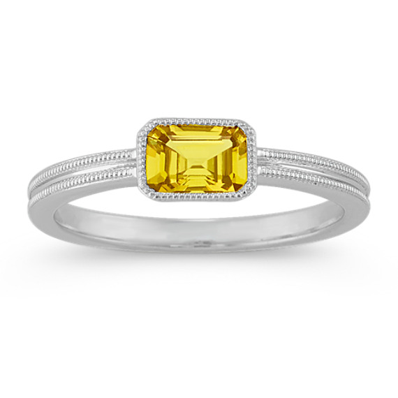 Vintage Emerald Cut Yellow Sapphire Ring